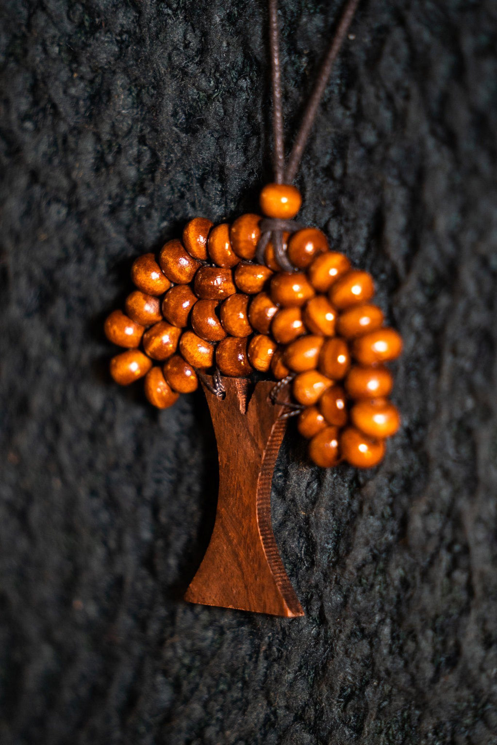 Beaded Wooden Tree Necklace