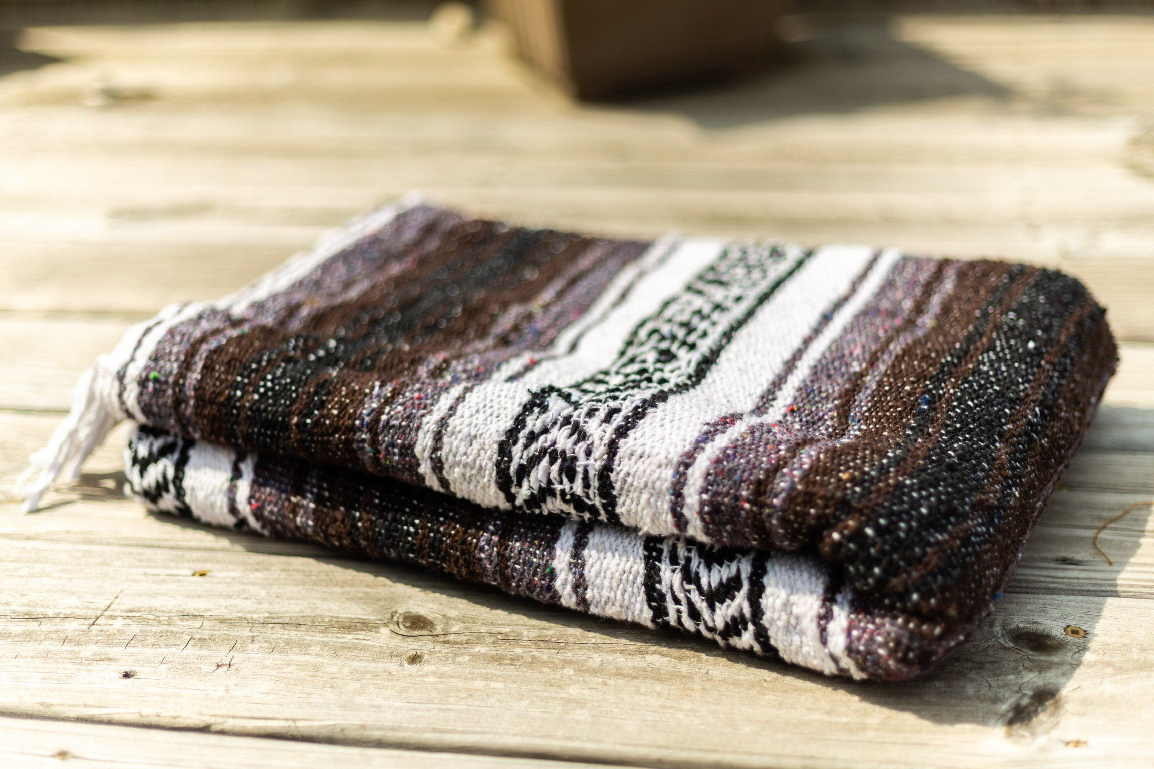 Classic Mexican Serape Blanket Brown