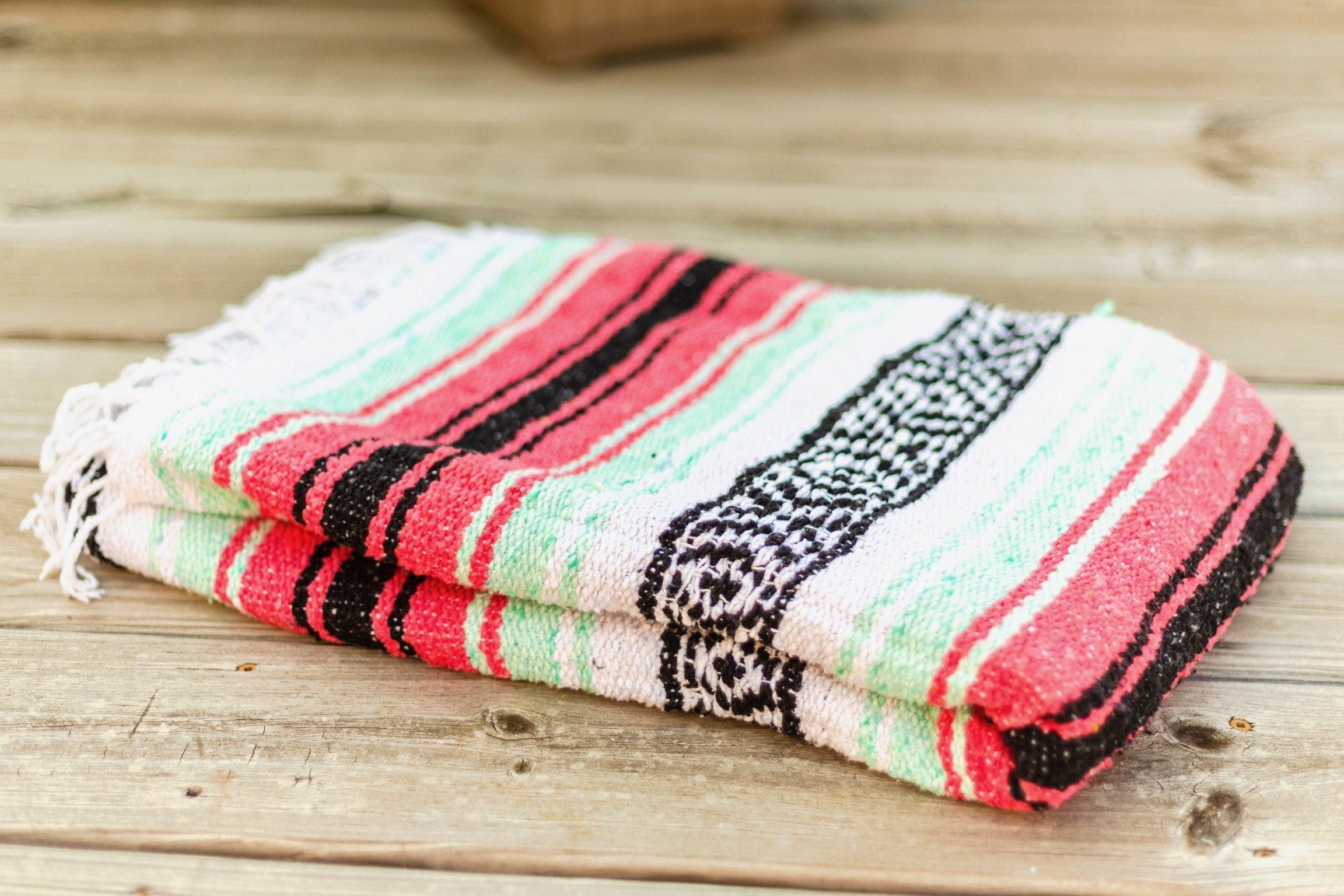Classic Mexican Serape Blanket Neon Pink