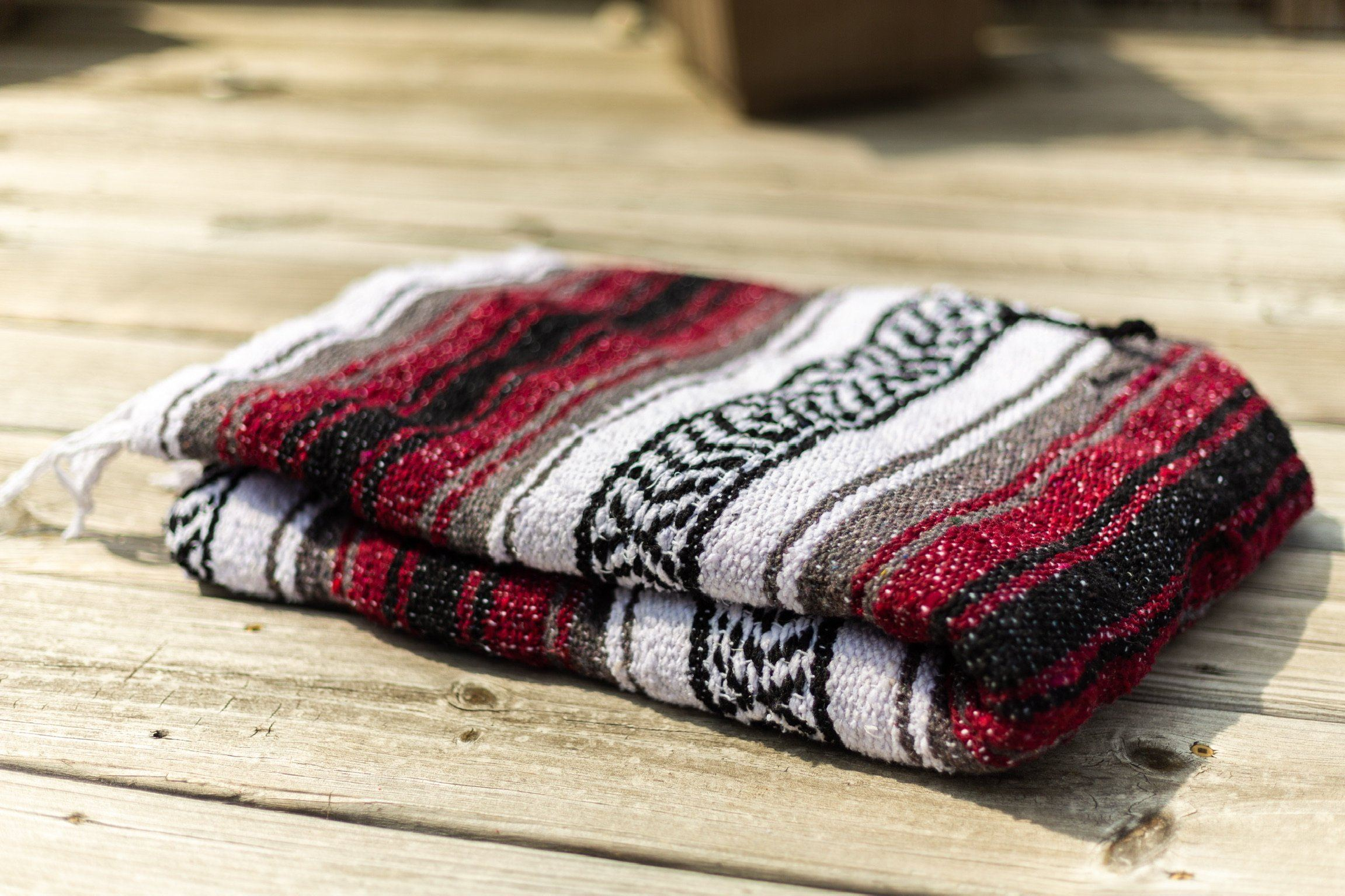 Classic Mexican Serape Blanket Red