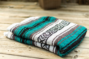 Classic Mexican Serape Blanket Teal Blue
