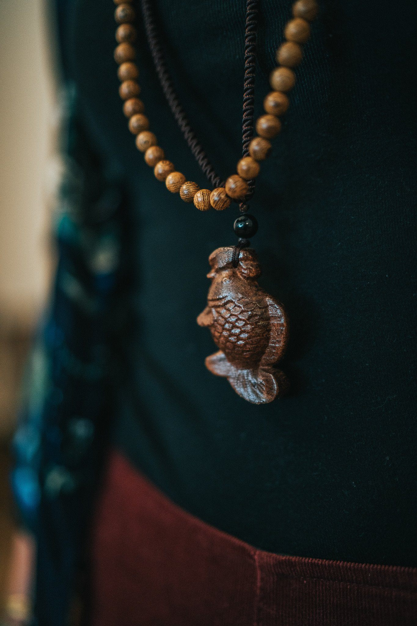 Hand Carved Wooden Pendant Necklace