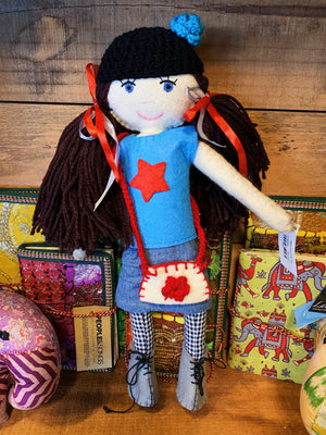 Hand Crafted Doll Nelya - Brown Hair Girl