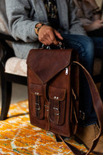 Rectangle Leather Backpack