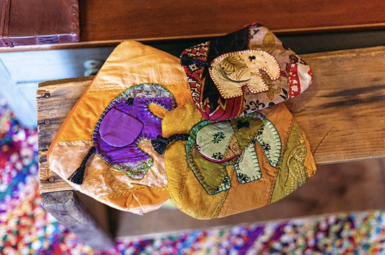 Silk Sari Elephant Pouches