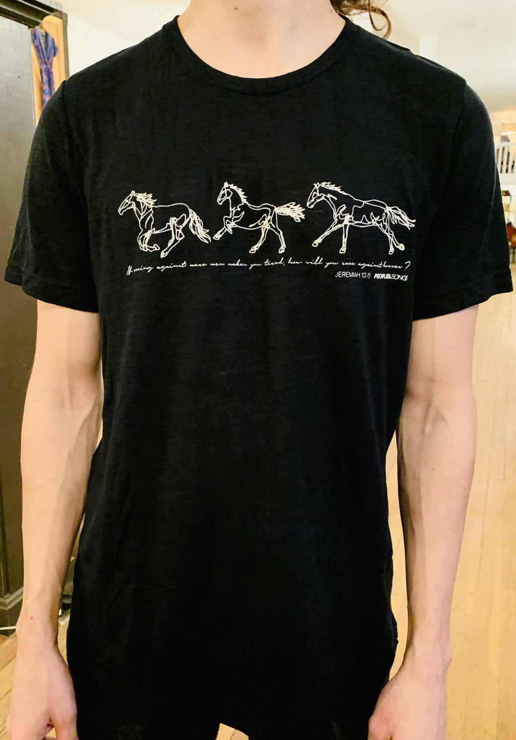 T-Shirt - Run with the Horses (Jer 12:5) - Chocolate Brown Short Sleeve