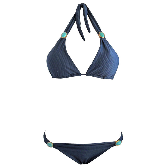 62087f05ca Navy Blue Texture Weave Womens Triangle Halter Top Brazilian Two Piece  Bikini Swimming Suit with Turquoise