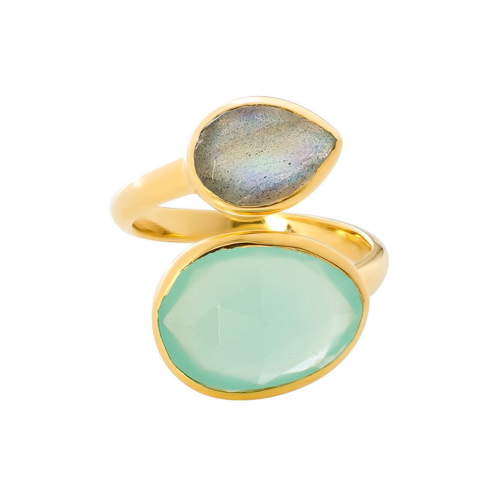 ANTIBES GOLD RING WITH AQUA CHALCEDONY AND LABRADORITE