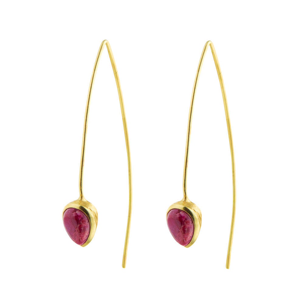 CORAL SEADROP EARRINGS WITH RUBY IN GOLD