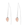CORAL SEADROP EARRINGS WITH ROSE QUARTZ IN SILVER