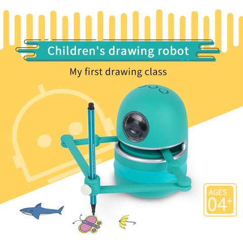 Quincy The Robot Artist creating step by step drawing.