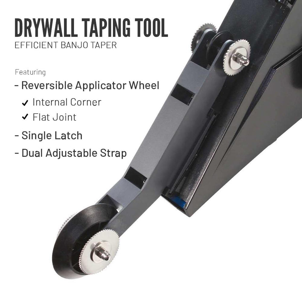 Drywall Taping Tool with Quick-Change Applicator Wheel - Gear Elevation