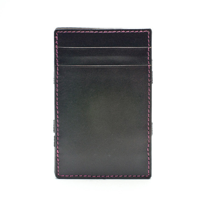 PôK Wallet Card Holder Classic Brown Pink Stitches