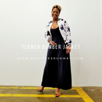 Blue and white flower bomber jacket on www.3DegreesRunway.com