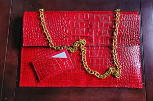 Power Red Statement Chain Clutch