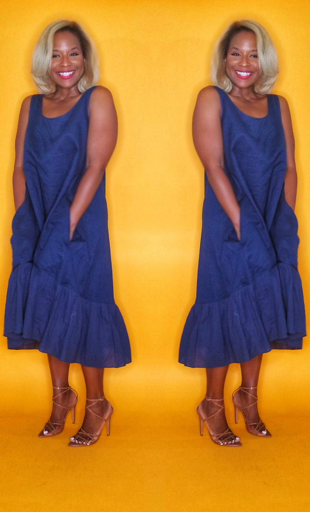Blue linen dress perfect for warm weather on www.3DegreesRunway.com