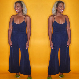 CodeBlue knit jumpsuit, open sexy back with spaghetti straps on www.3DegreesRunway.com