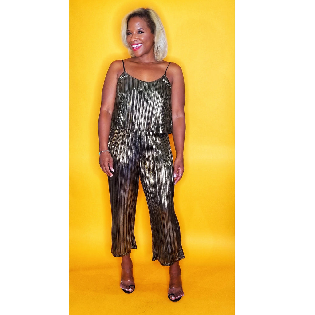 Black and Gold Shine two piece set on www.3DegreesRunway.com