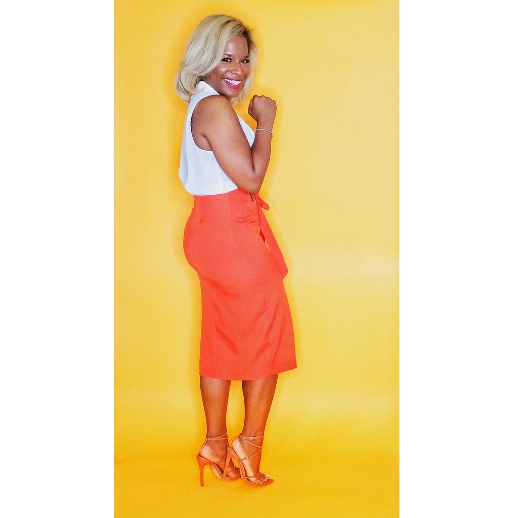 High waist Fire Orange skirt on www.3DegressRunway.com