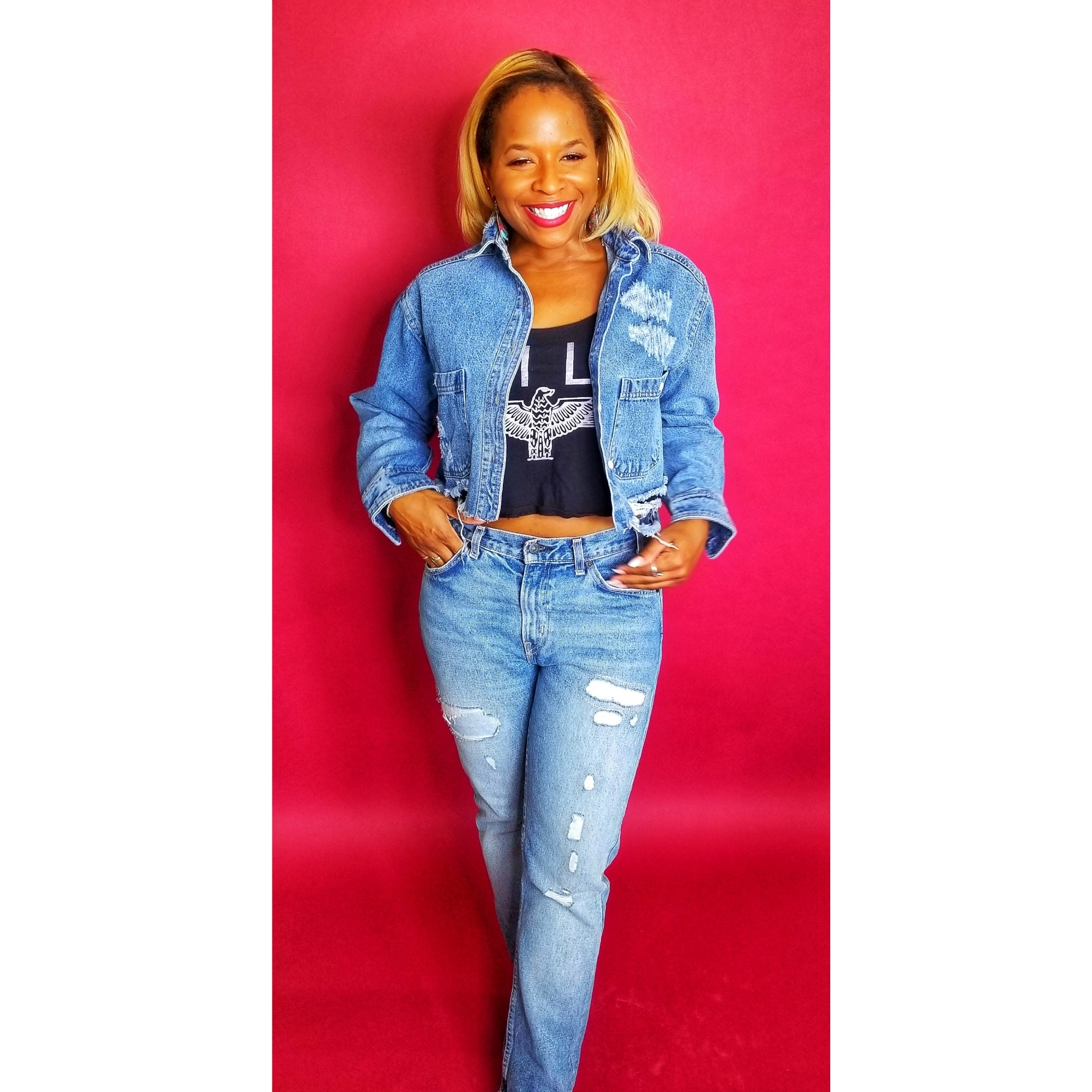 Cropped and torn denim jacket on www.3DegreesRunway.com