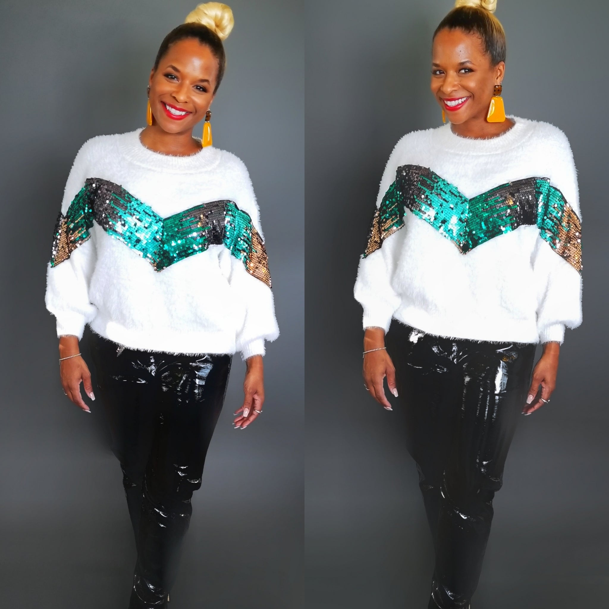 White pullover sweater with a multi-color sequins block in the front.  This knit sweater has the feel of an angora rabbit fur without the guilt or shedding.
