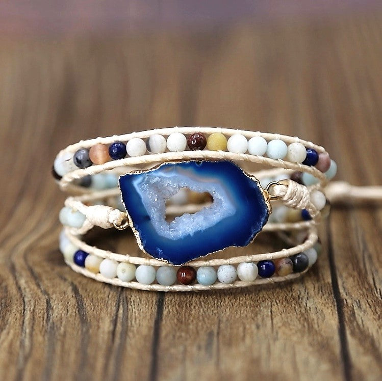 Pure Joy Blue Agate Wrap Bracelet