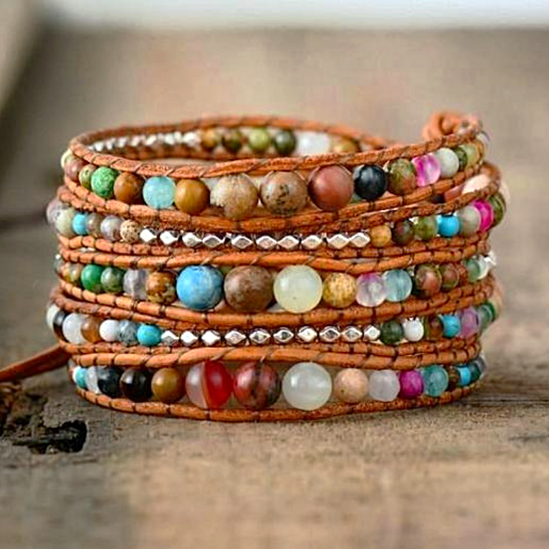 Rainbow Mixed-Stone Wrap Bracelet