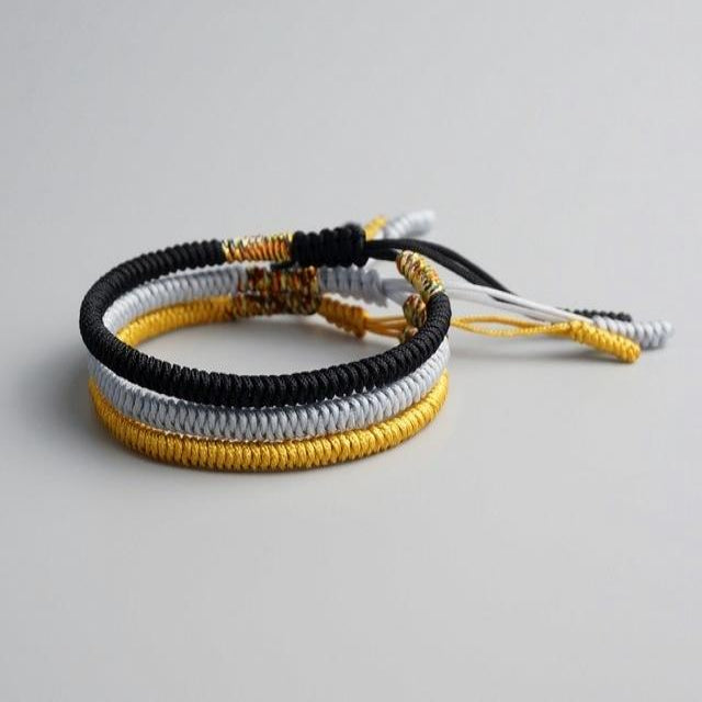 Black/White/Yellow Tibetan Good Luck Rope Set