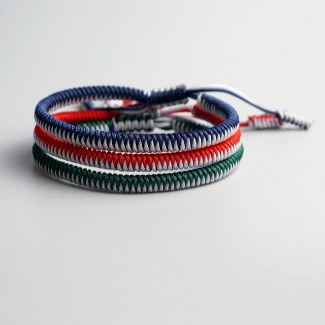 Blue/Red/Green Tibetan Good Luck Rope Set