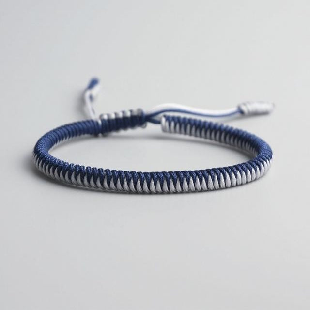 Blue/White Tibetan Good Luck Rope Bracelet