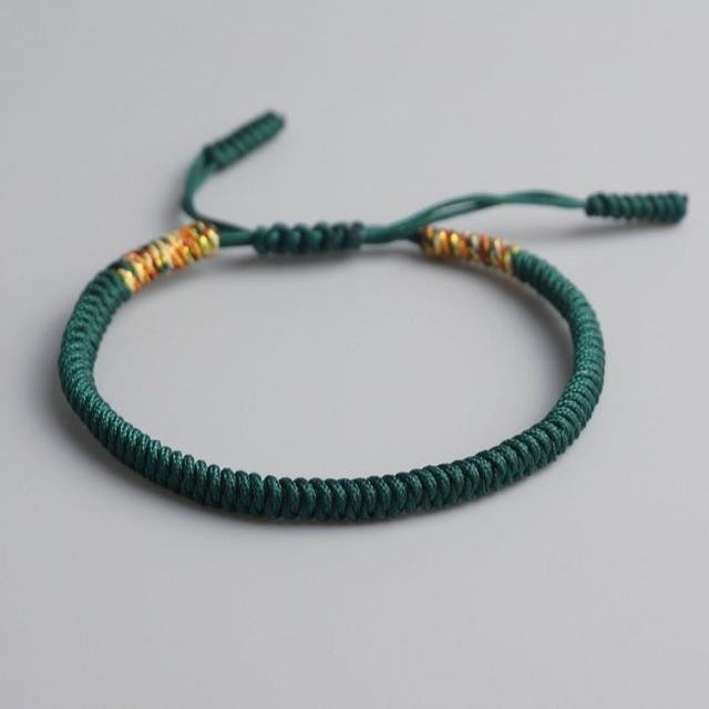 Green Tibetan Good Luck Rope Bracelet