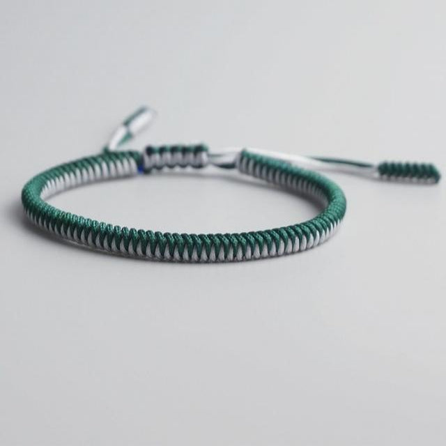 Green/White Tibetan Good Luck Rope Bracelet