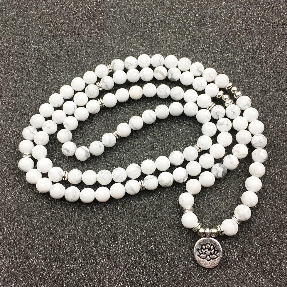 Natural Howlite Lotus Charm Mala