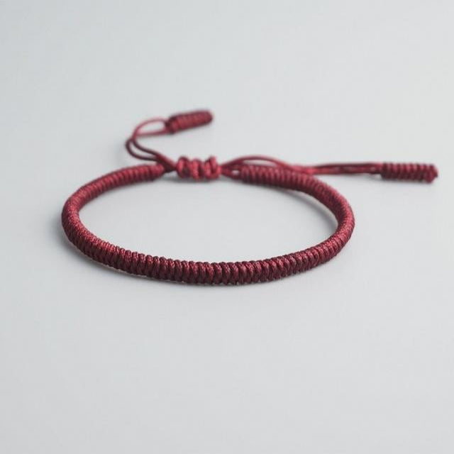 Maroon Tibetan Good Luck Rope Bracelet