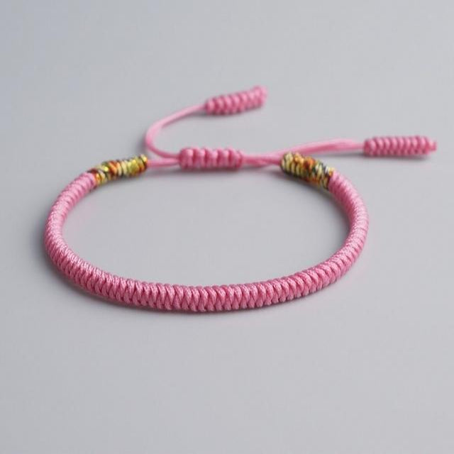 Pink Tibetan Good Luck Rope Bracelet