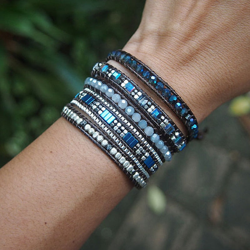 Grounding Blue Hematite Wrap Bracelet