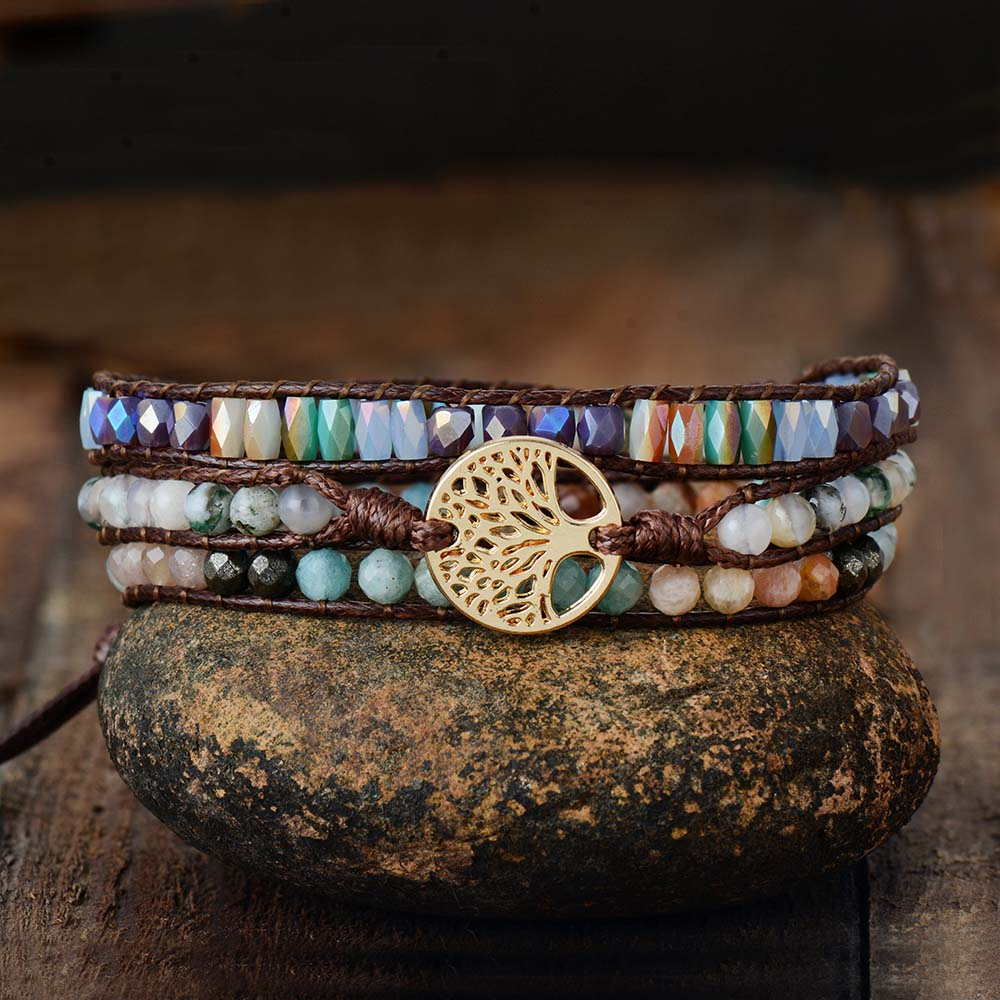 Mixed Stone Vegan Tree of Life Bracelet