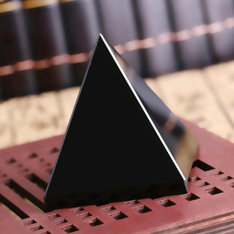 Natural Black Obsidian Quartz - Carved Pyramid Shape