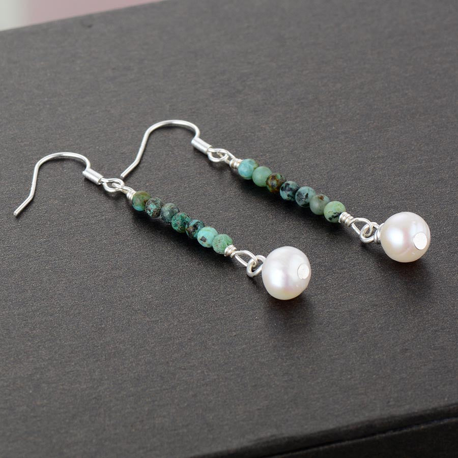 African Turquoise & Pearl Drop Earrings