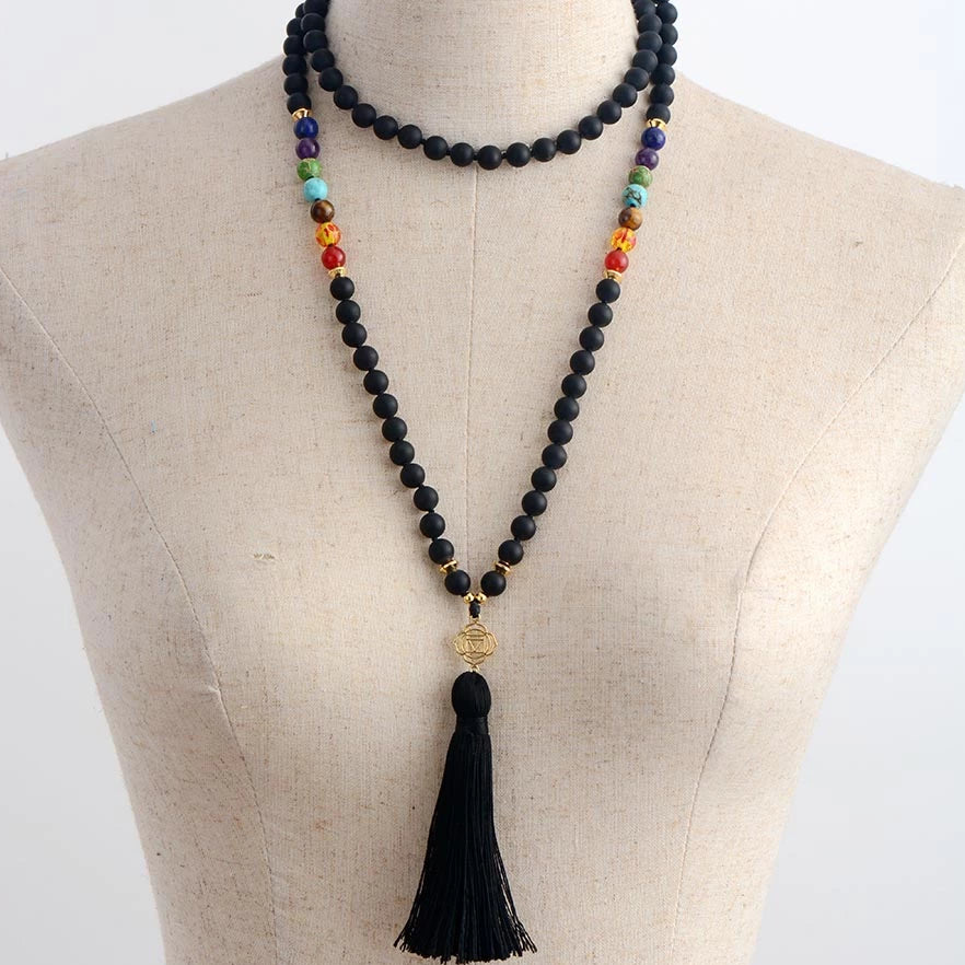High End 7 Chakra Onyx Meditation Mala