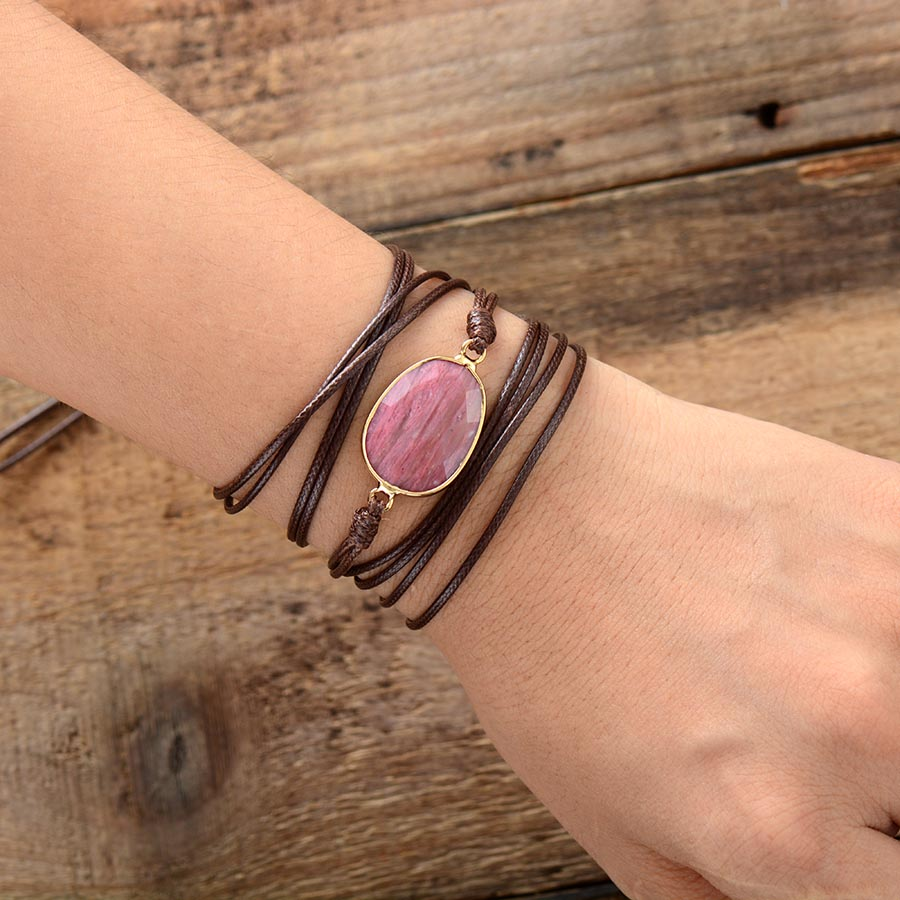 One Love Rhodonite Wrap Bracelet