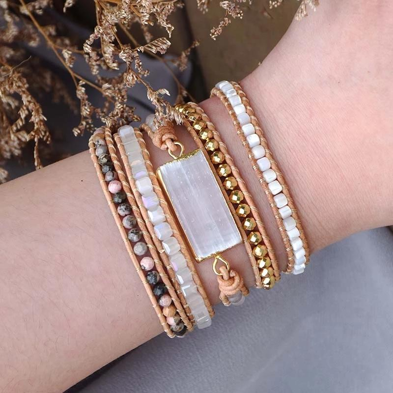 Moon Goddess Selenite Wrap Bracelet