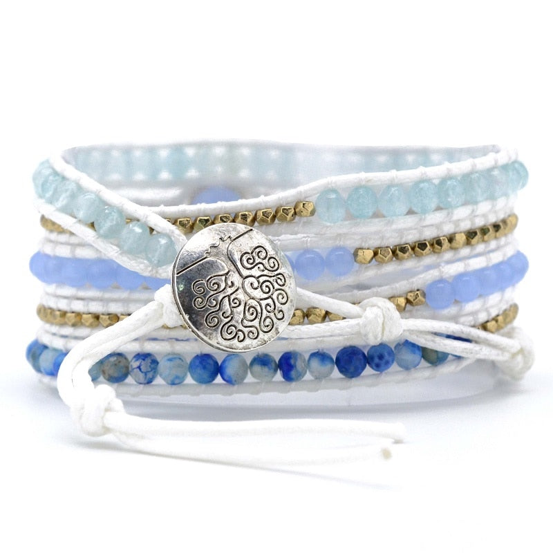 50 Shades of Blue Jade Wrap Bracelet