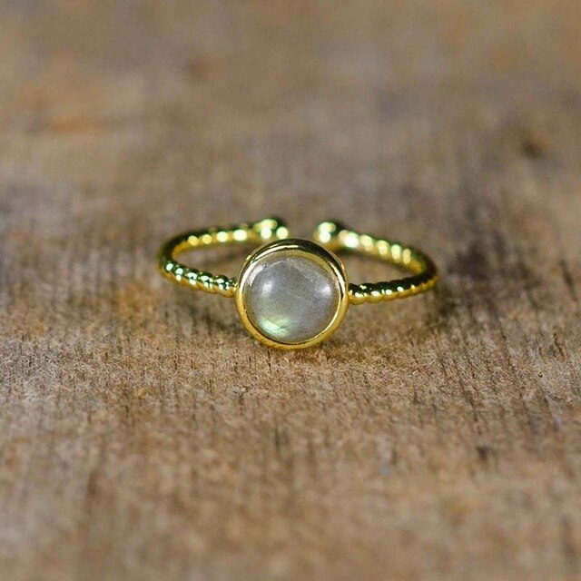 Adjustable Natural Gemstone Ring