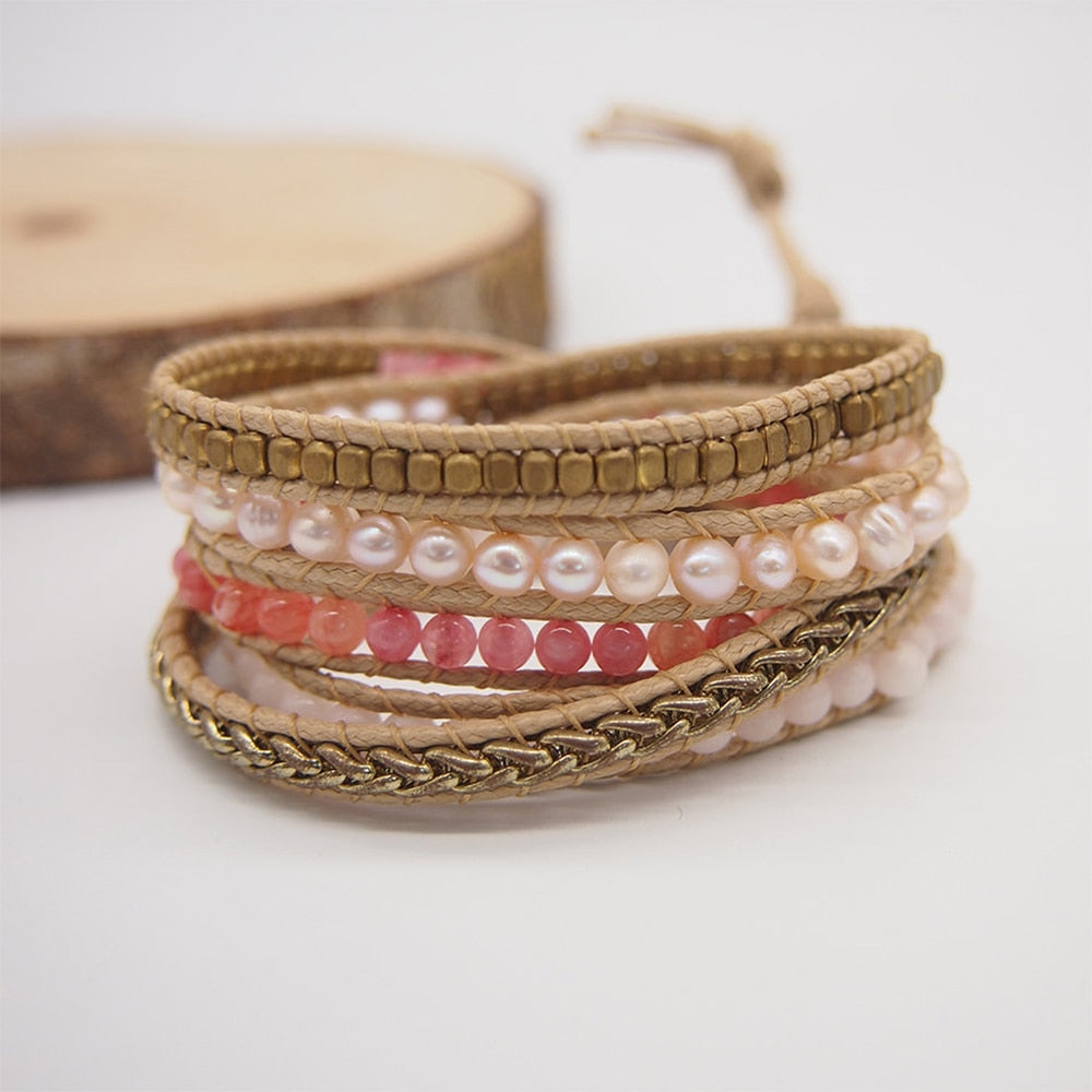 Cherry Quartz & Pearl Vegan Wrap Bracelet