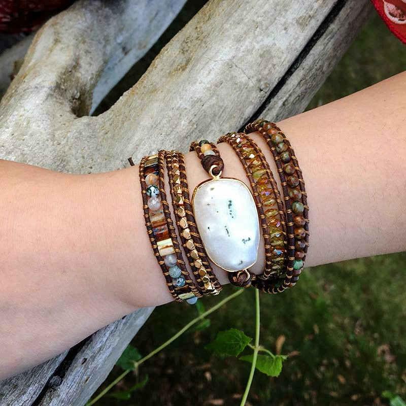 Agate Moonlight Warrior Wrap Bracelet