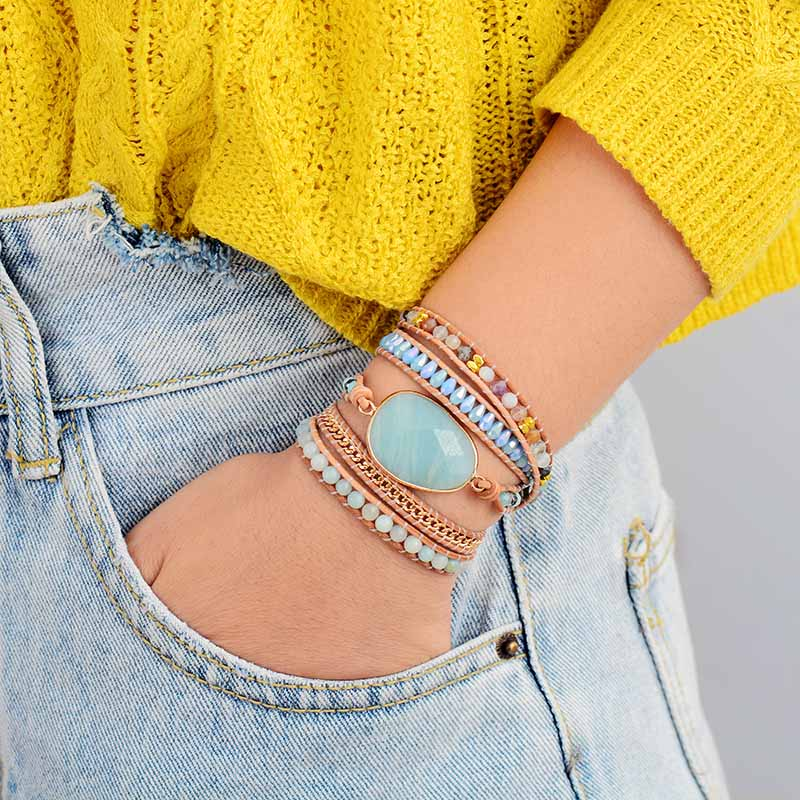 Ray of Light Amazonite Wrap Bracelet