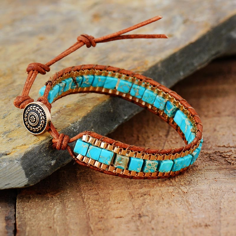 Turquoise Woven Gold Chain Bracelet