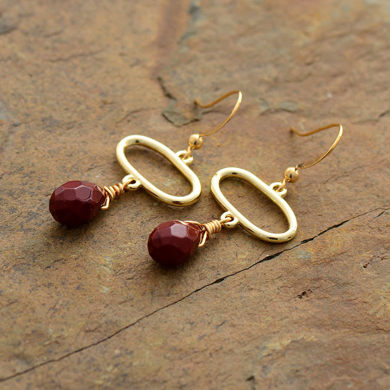 Red Jasper Gold Tone Drop Earrings