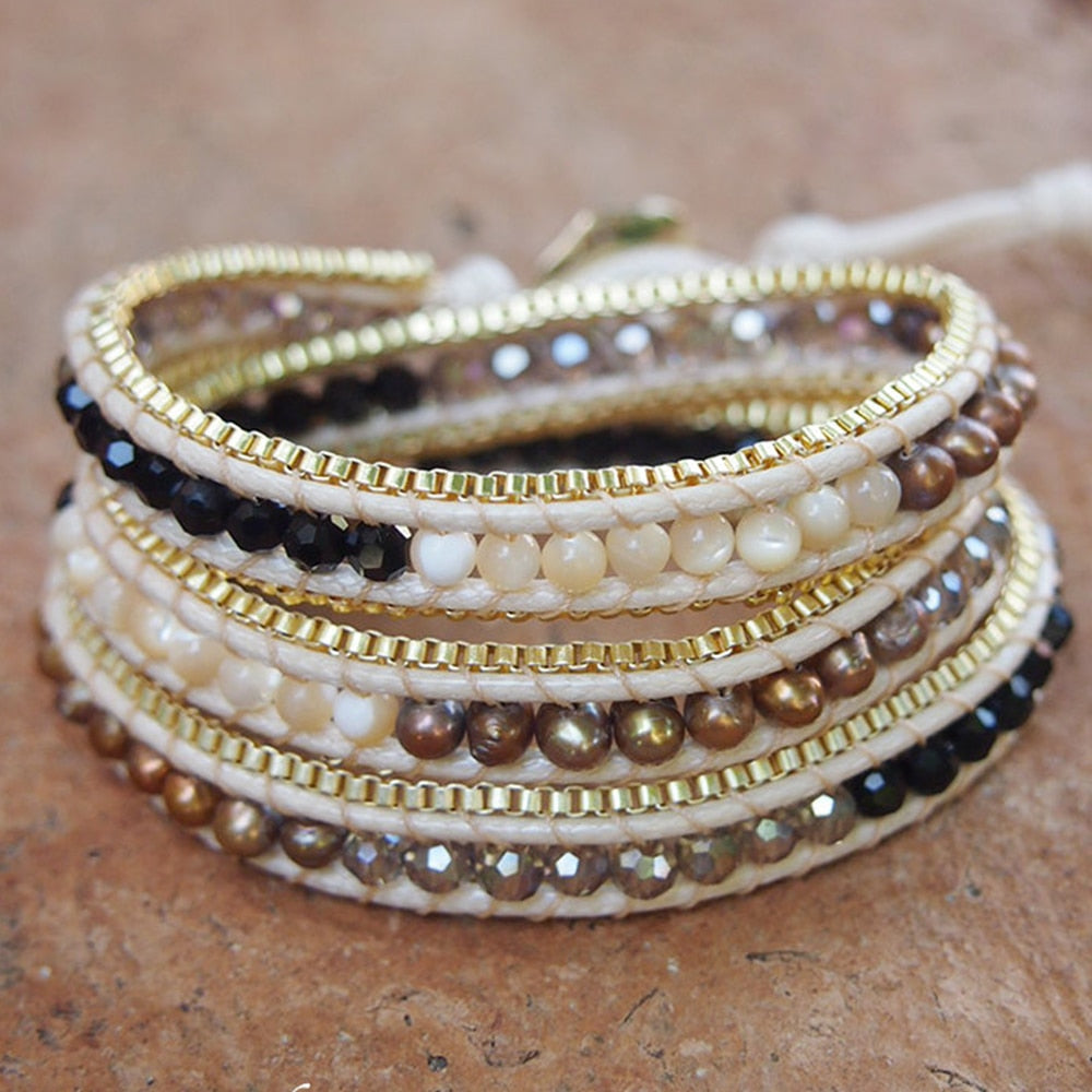 River of Pearls Wrap Bracelet